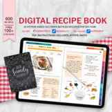 Digital Recipe Book, Digital Food Diary, Customized Blank Notebook Journal