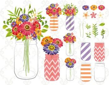 Digital Red Purple Orange Flower Mason Jar Clip Art Flower in Mason Jar 0154