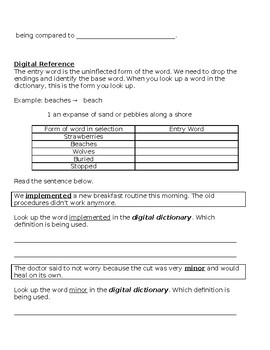 Digital Reference Practice: Dictionary and Thesaurus