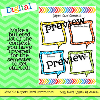 Digital Report Card Commenting Tool Kit!