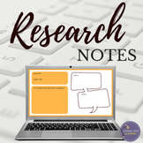 Digital Research Paper Note Cards   Templates for Middle & High School Students
