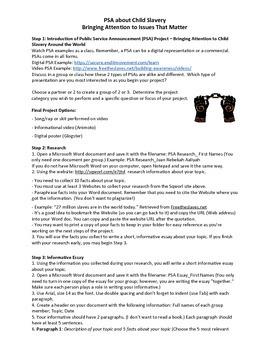 Digital Research Project: PSA Child Slavery