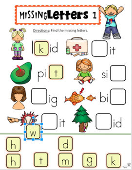 Google Classroom™ Activities Kindergarten First Grade CVC Words