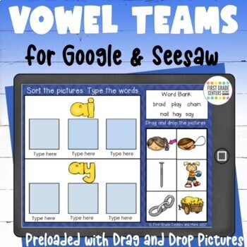 Digital Resource Vowel Teams Sorts with Movable Pictures