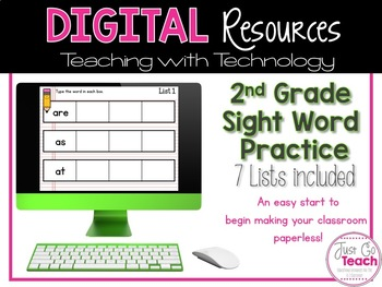 Digital Resources: 2nd Grade Sight Word Practice 7 Lists Included