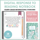 Digital Response to Reading Notebook (Fourth Grade, Informational Standards)