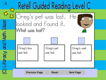 Digital Retell Task Cards App (Guided Reading A, B, C, D) Interactive PDFs