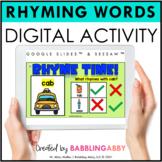 Digital Rhyming Words Activity Google Slides™ Seesaw™ for