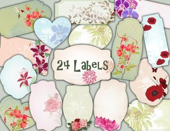 Flower and Bird Label Tag Digital Vintage Flower Frame Clip Art  Floral Label