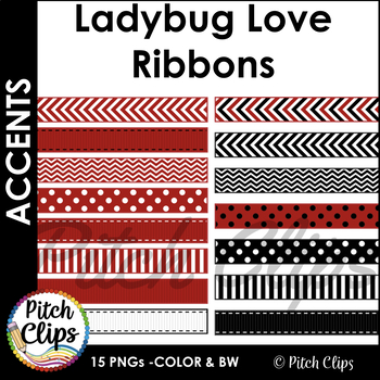 Digital Ribbons: Ladybug Love - 15 ribbons in Red, Black, and White