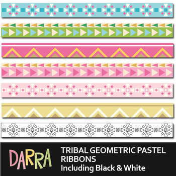 Digital Ribbons for page border - Tribal Geometric Pastel long ribbons clip art