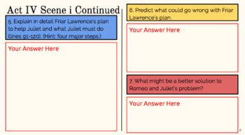 Digital Romeo and Juliet Act IV Interactive Notebook