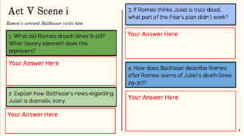 Digital Romeo and Juliet Act V Interactive Notebook
