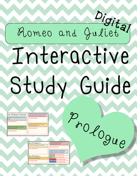 Digital Romeo and Juliet Prologue Interactive Notebook