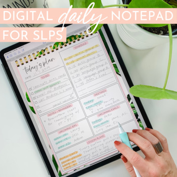 Digital SLP Daily Planning Page