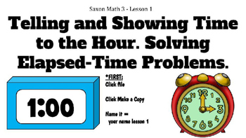 Digital Saxon 3 Lesson 1 Time to the Hour & Elapsed time -
