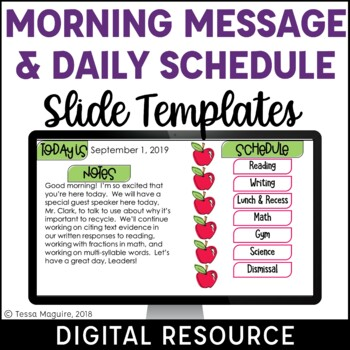 Digital Schedule & Morning Message Display {Editable}