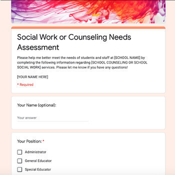 Digital School Social Work or Counseling Needs Assessment