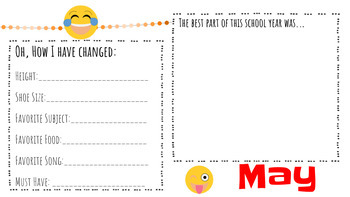 Digital School Year Memory Book - Emoji Theme - Google Slides