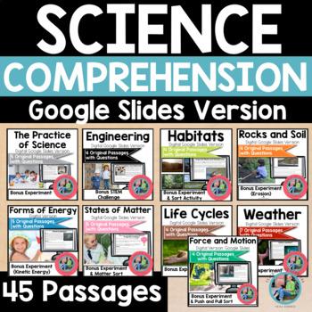 digital science reading comprehension bundle on google slides tpt