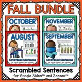 Digital Scrambled Sentences Fall Bundle - Preloaded Google Slides™ and Seesaw™