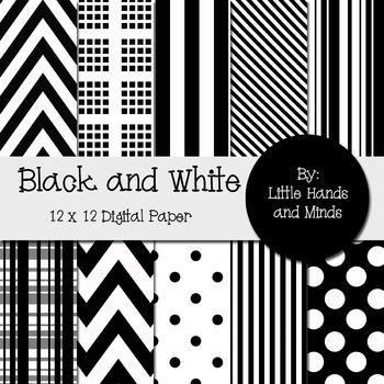 Digital Scrapbook Paper - Black and White