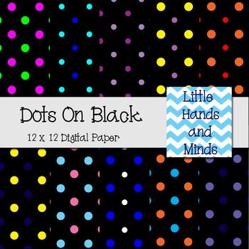 Digital Scrapbook Paper - Dots on Black