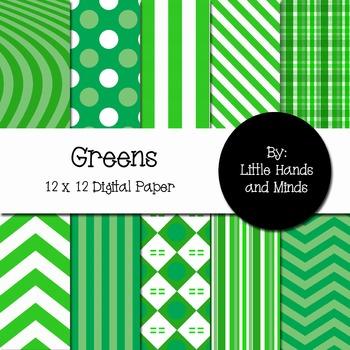 Digital Scrapbook Paper - Greens