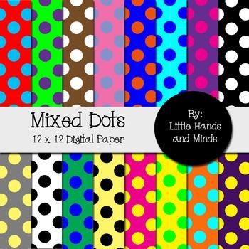 Digital Scrapbook Paper - Mixed Dots