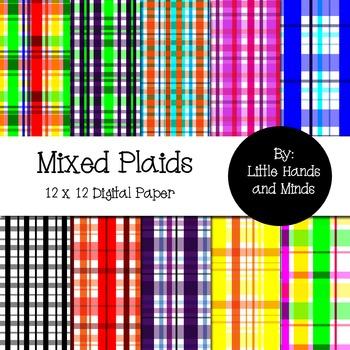 Digital Scrapbook Paper - Mixed Plaids