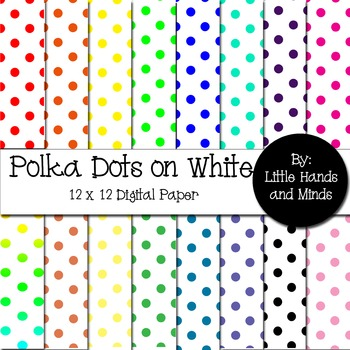 Digital Scrapbook Paper - Polka Dots on White