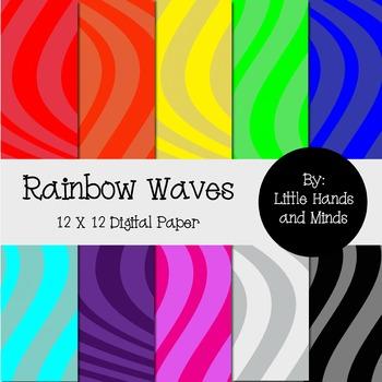 Digital Scrapbook Paper - Rainbow Waves