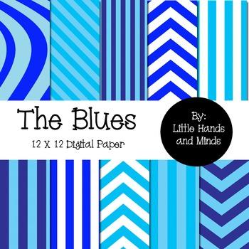 Digital Scrapbook Paper - The Blues