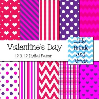 Digital Scrapbook Paper - Valentine's Day