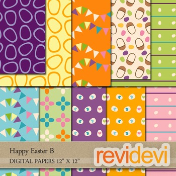 Digital Scrapbook Papers - Happy Easter B