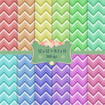 Digital Scrapbooking Paper Art Template Abstract Cover Chevron Birthday Single