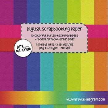 Digital Scrapbooking Paper : Colorful Burlap-Textured Desi