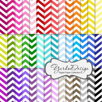 Chevron Digital Scrapbooking Paper Set, 42 Digital Papers