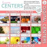 Digital Second Grade Literacy Centers - Year Long Bundle -