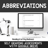 Digital Self Grading Abbreviations Assessments for Google Drive