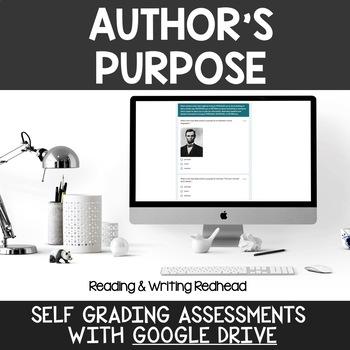 Digital Self Grading Author's Purpose Assessments for Google Drive