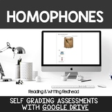 Digital Self Grading Homophones Assessments for Google Drive
