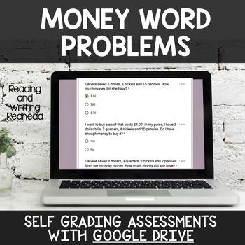 Digital Self Grading Money Word Problems Assessments for Google Drive