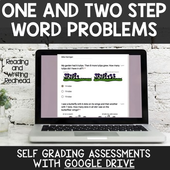 Digital Self Grading One/Two Step Word Problems Assessments for Google Drive