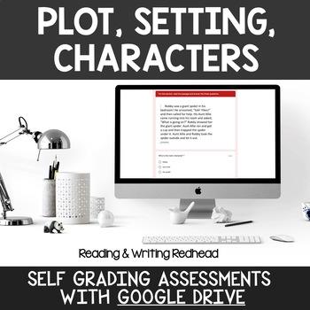 Digital Self Grading Plot, Setting, Characters Assessments for Google Drive
