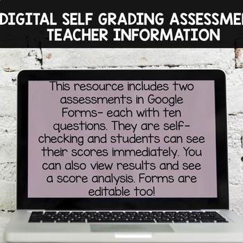 Single Digit Subtraction Digital Self Grading Assessments for Google Drive