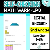Digital Self-Grading and Self-Checking Math Warm-Ups or Morning Work 2nd Grade