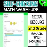 Digital Self-Grading and Self-Checking Math Warm-Ups or Mo