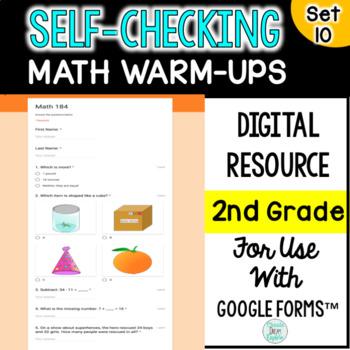 Digital Self-Grading and Self-Checking Math Warm-Ups or Morning Work 2nd Grade