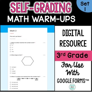Digital Self-Grading and Self-Checking Math Warm-Ups or Morning Work 3rd Grade